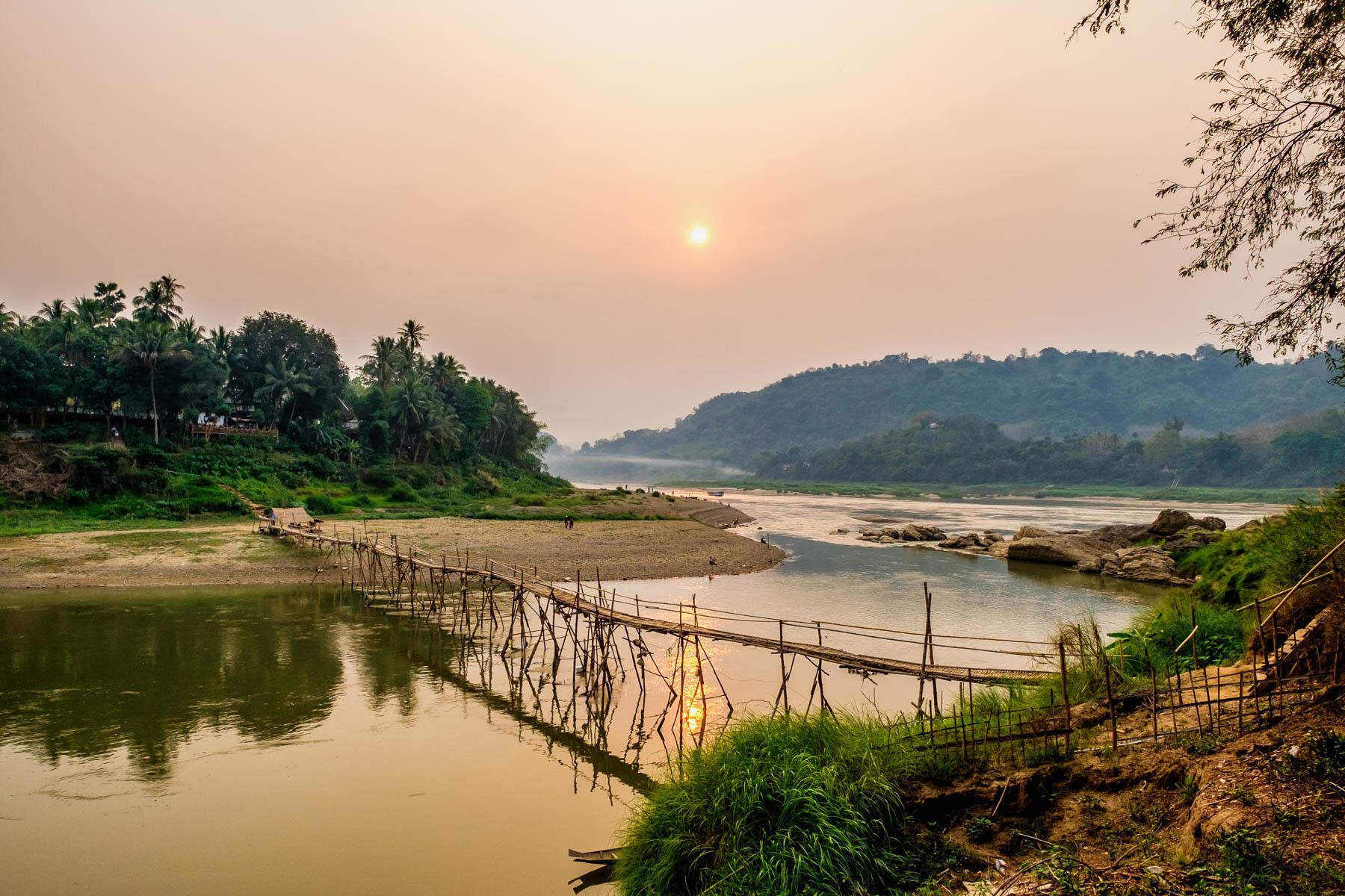 Bamboo bridge across Nam Khan river