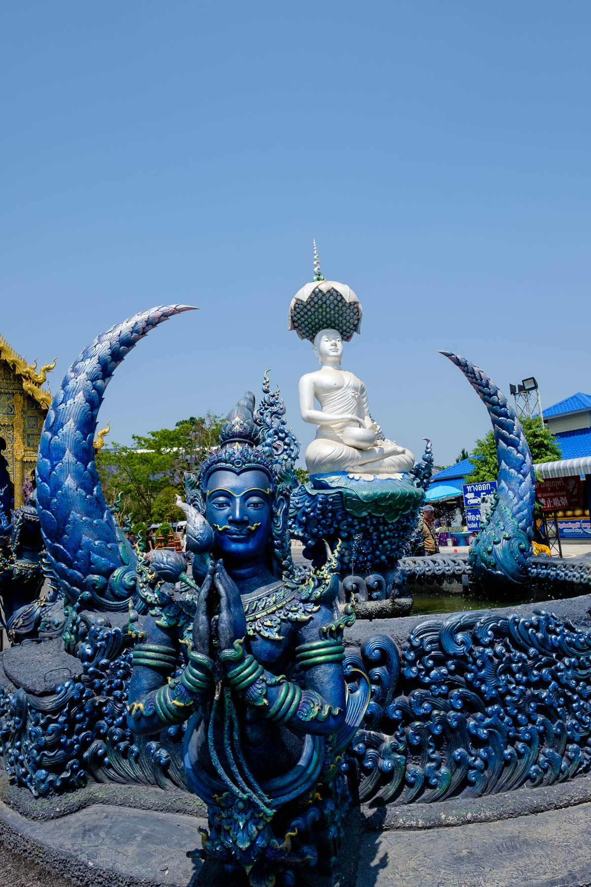 Blue temple Fountain Chiang Rai
