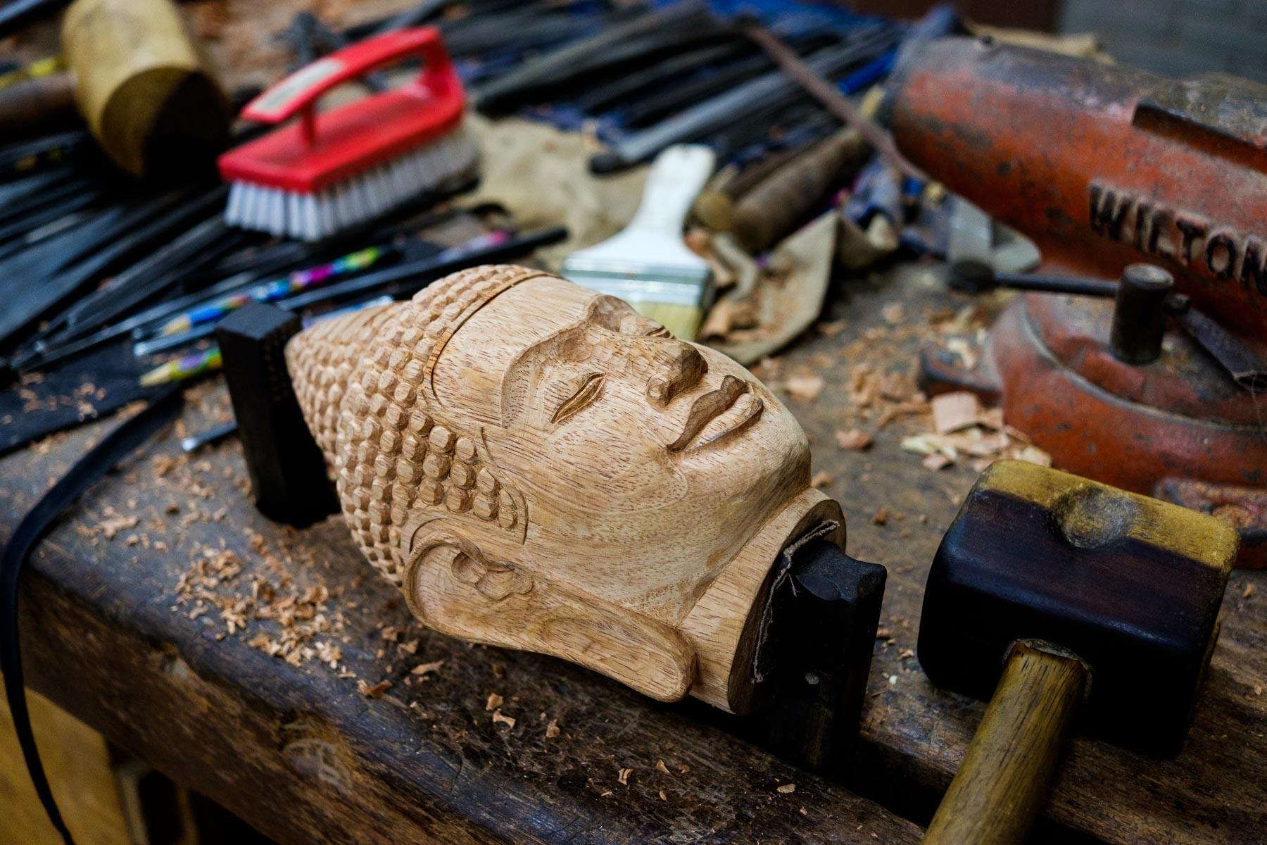 Buddha face wood carving Artisans Angkor