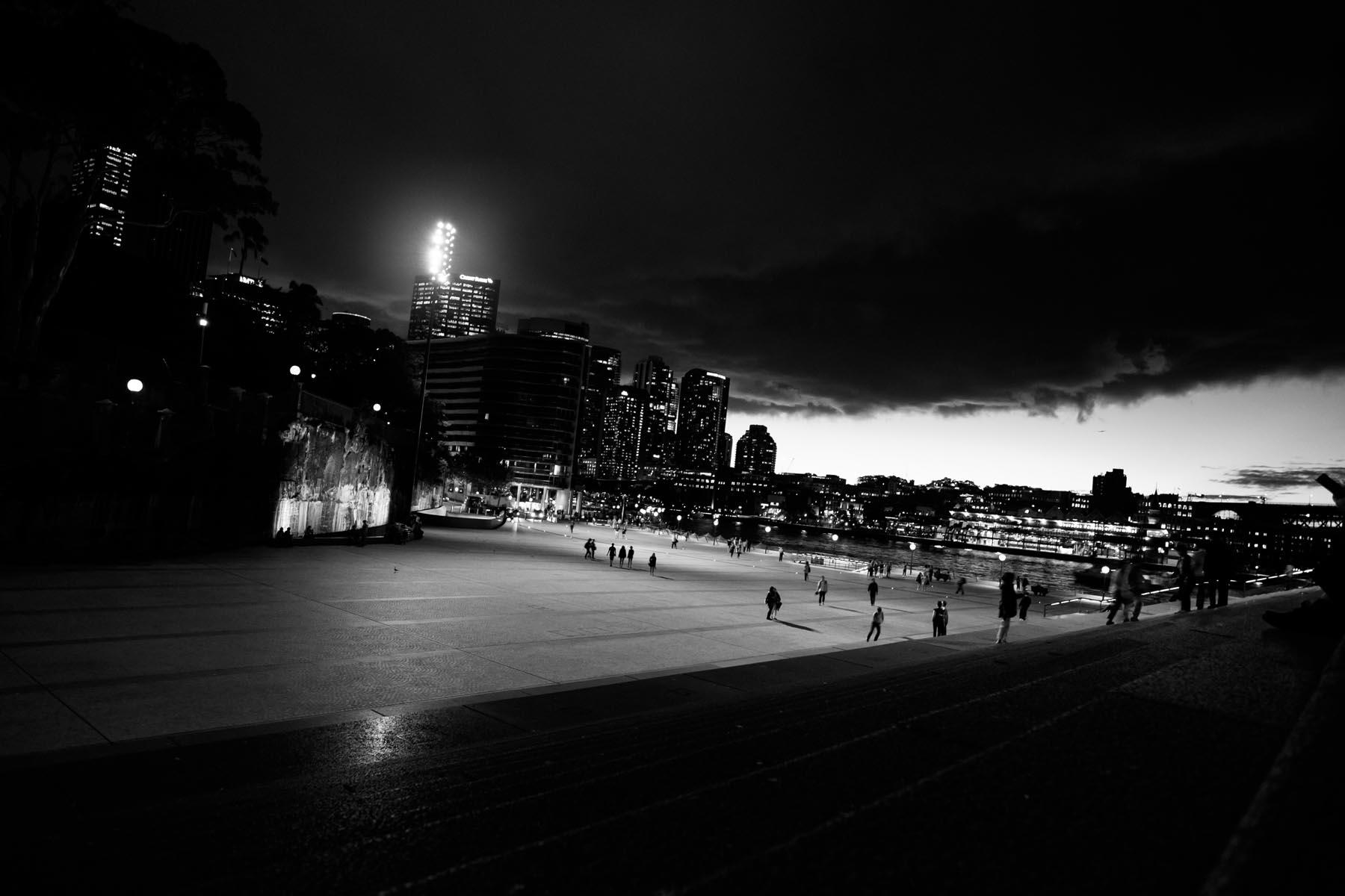 city sydney at night Australia black and white