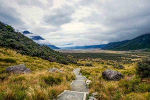 Tasman Valley Stairs down New Zealand