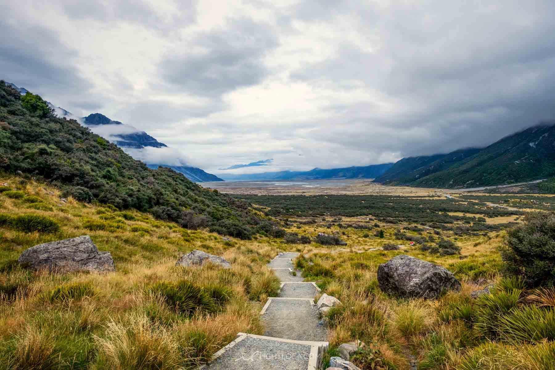 Stairs pathway up the Tasman Valley Glacier park New Zealand