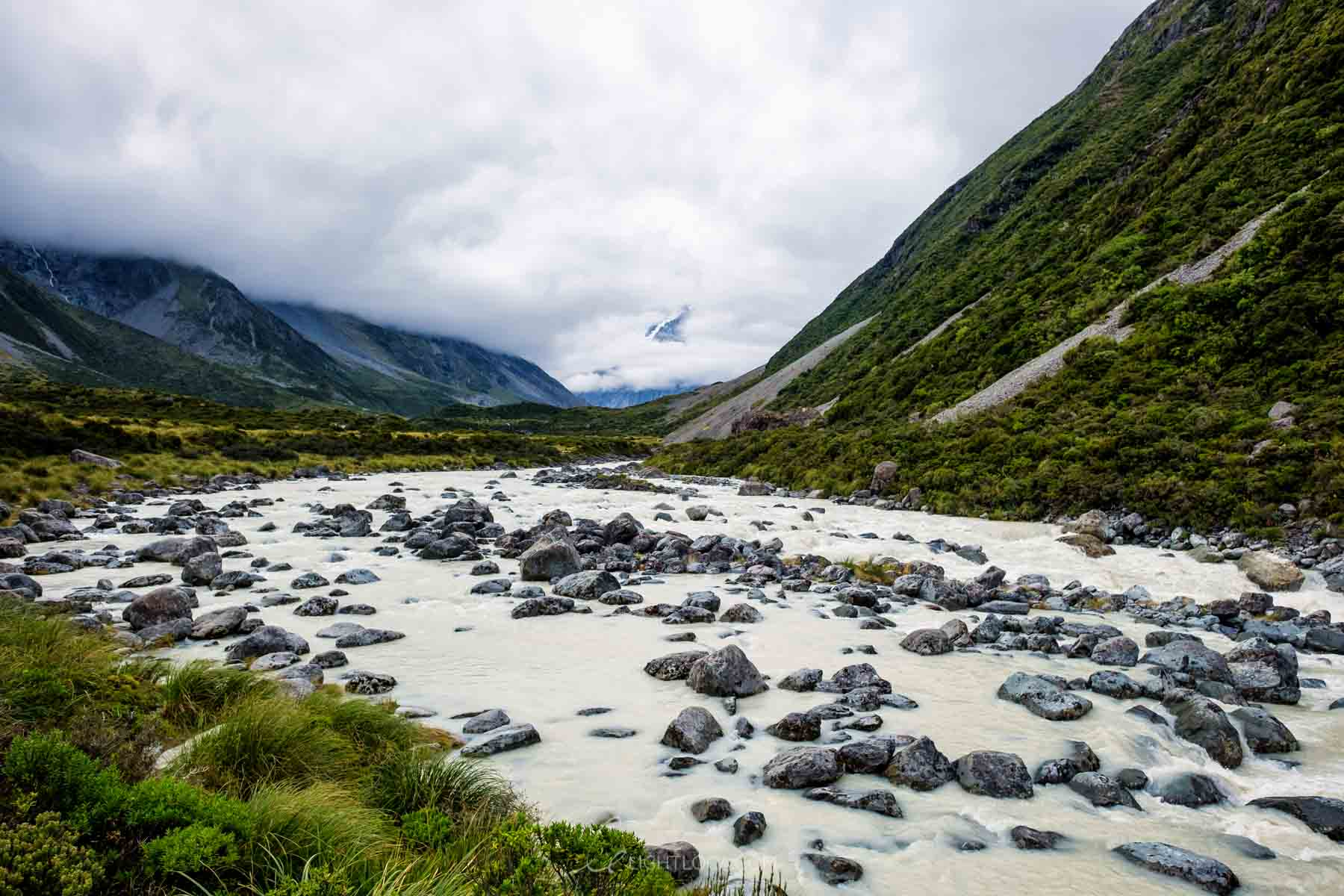 Water and rocks along the Hooker Valley track new zealand