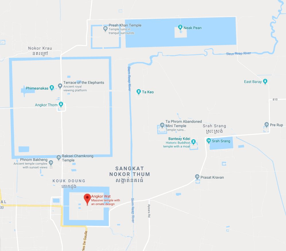 Angkor Wat Siem Reap Map
