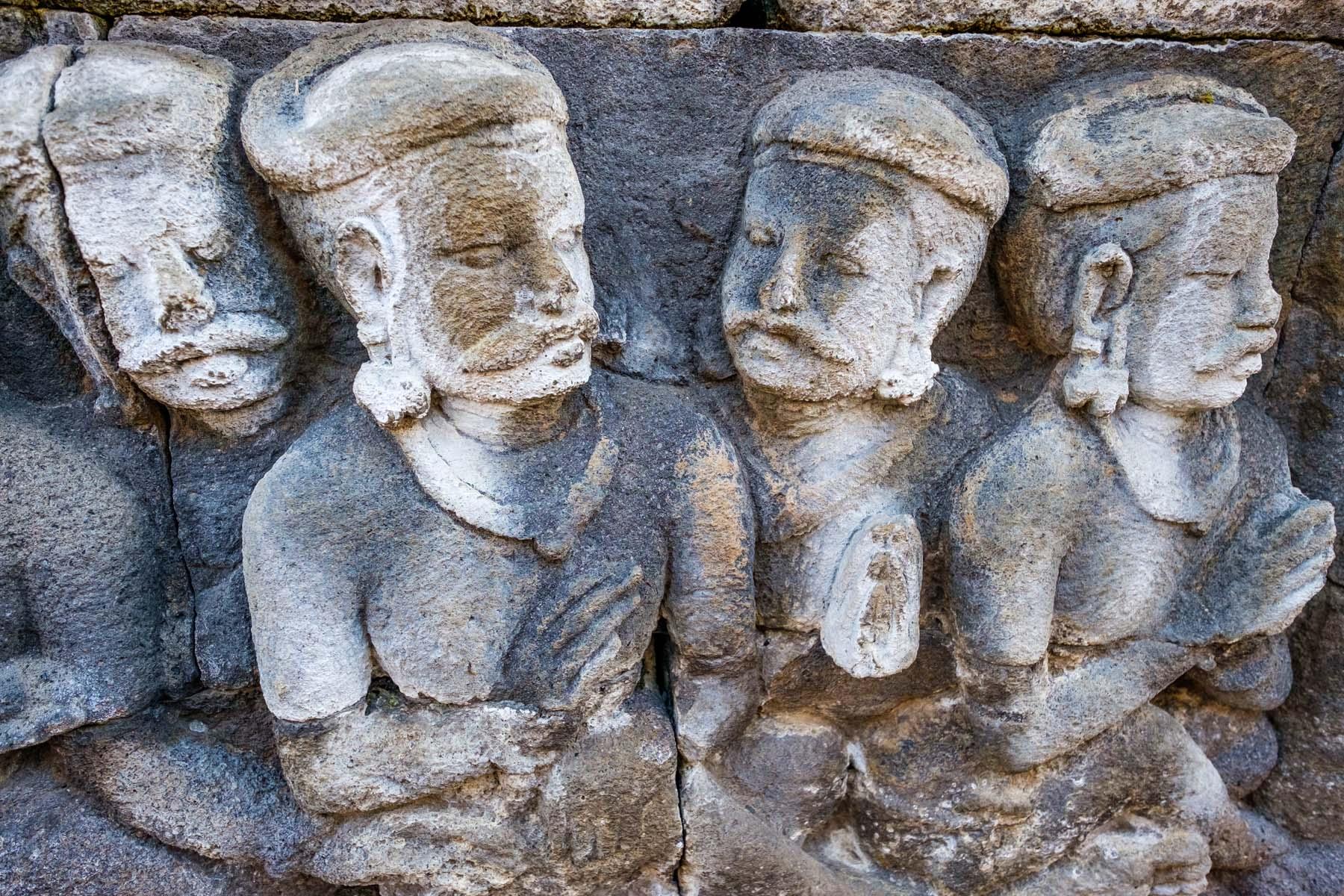 carvings at Borobudur temple