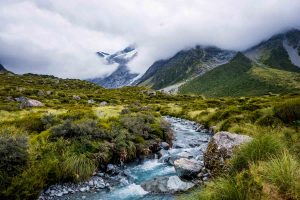 River along Hooker Valley Track New Zealand Landscape