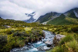 River along Hooker Valley Track New Zealand Landscape