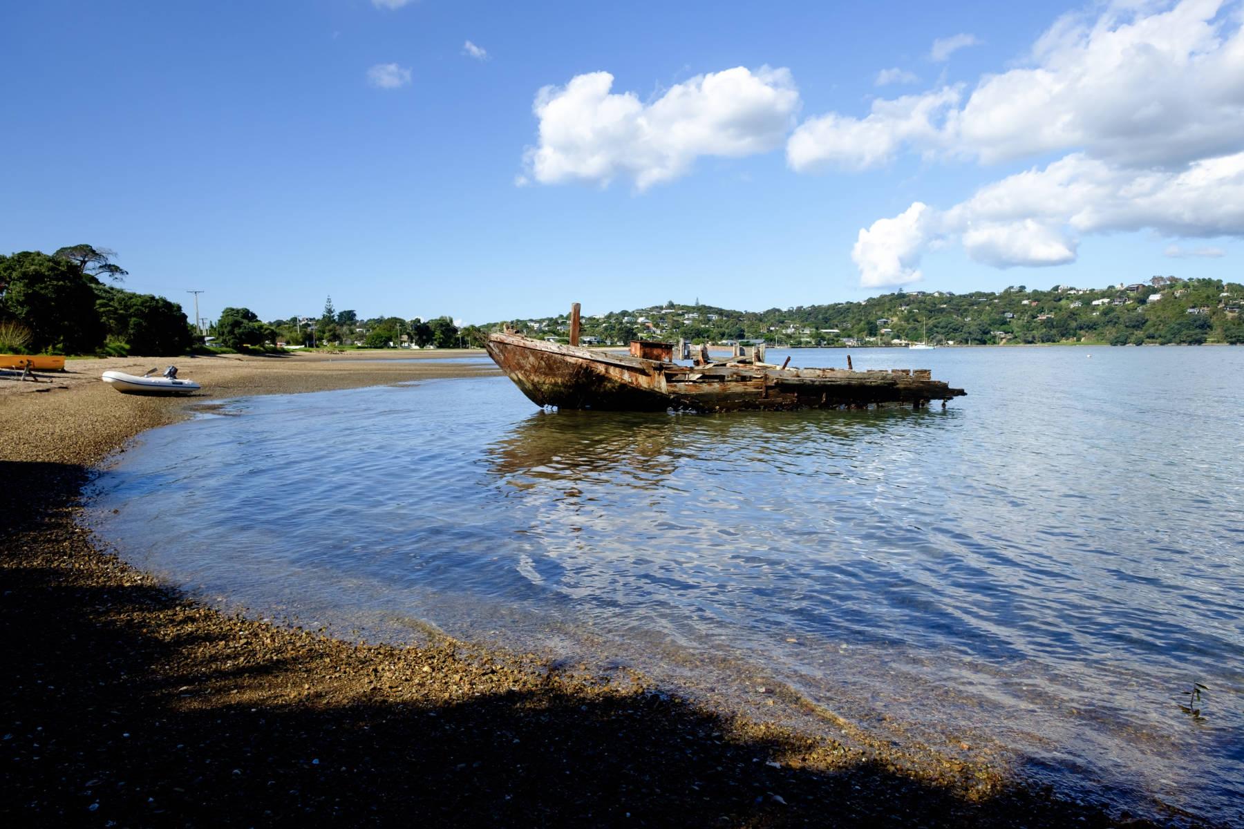 Rundown boat waiheke island New Zealand