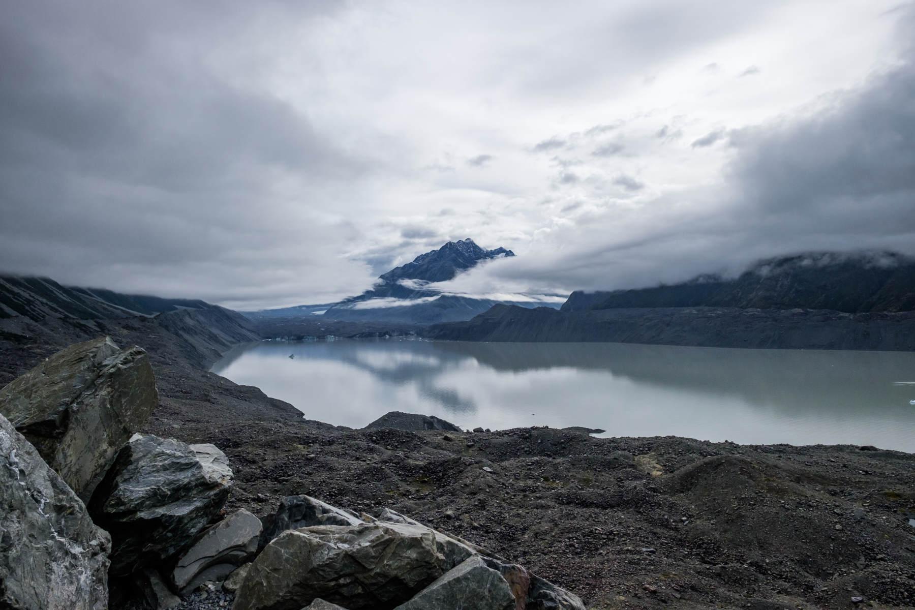 Mount cook from Tasman Valley glacier park New Zealand