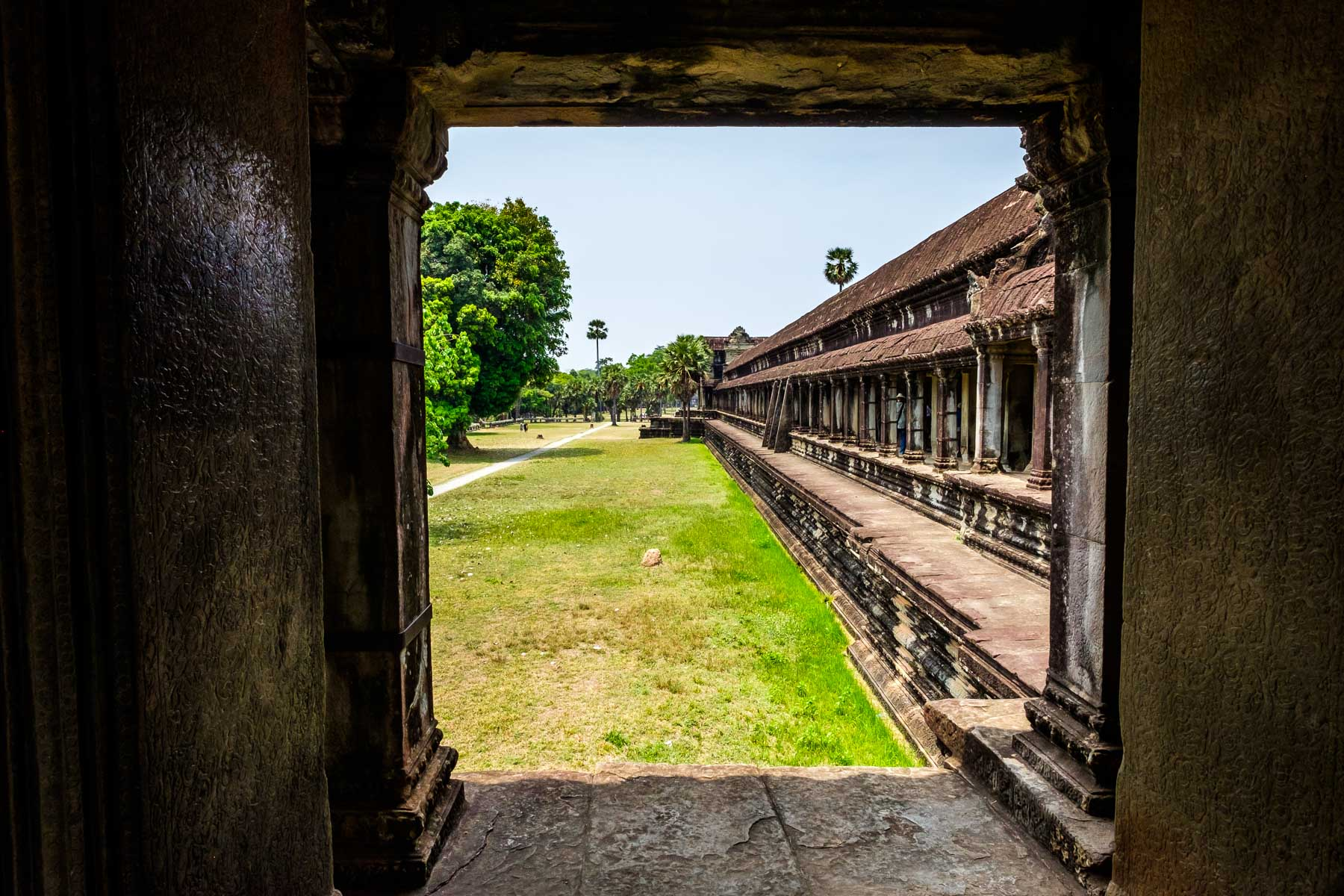 View through window Angkor Wat Cambodia