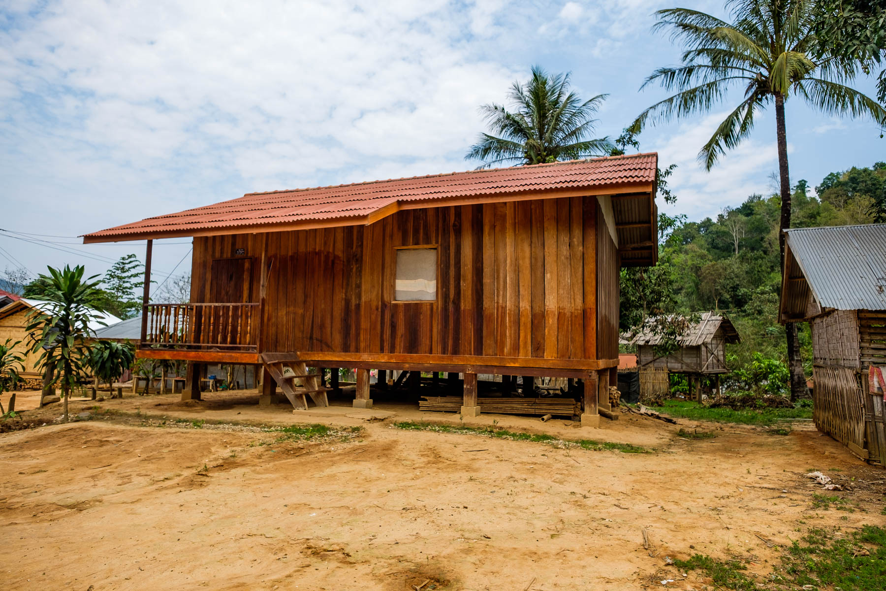 wooden house lao khmu village